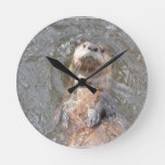 Otter Back Float Round Clock