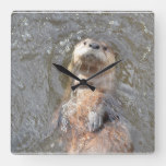 Otter Back Float Square Wall Clock